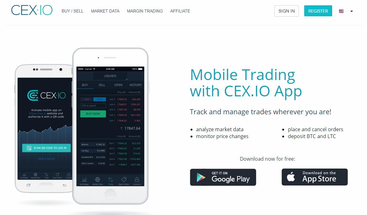 CEX.IO platforms screen