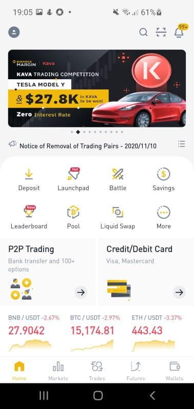 Binance crypto trading app home screenshot