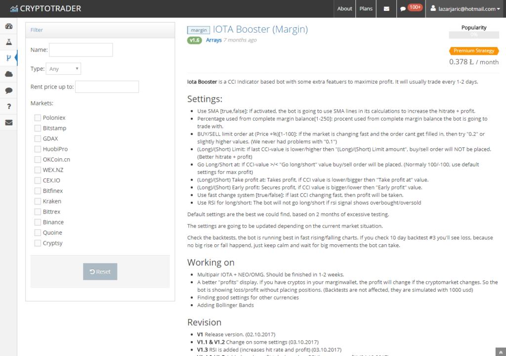 IOTA trading, Cryptotrader print screen