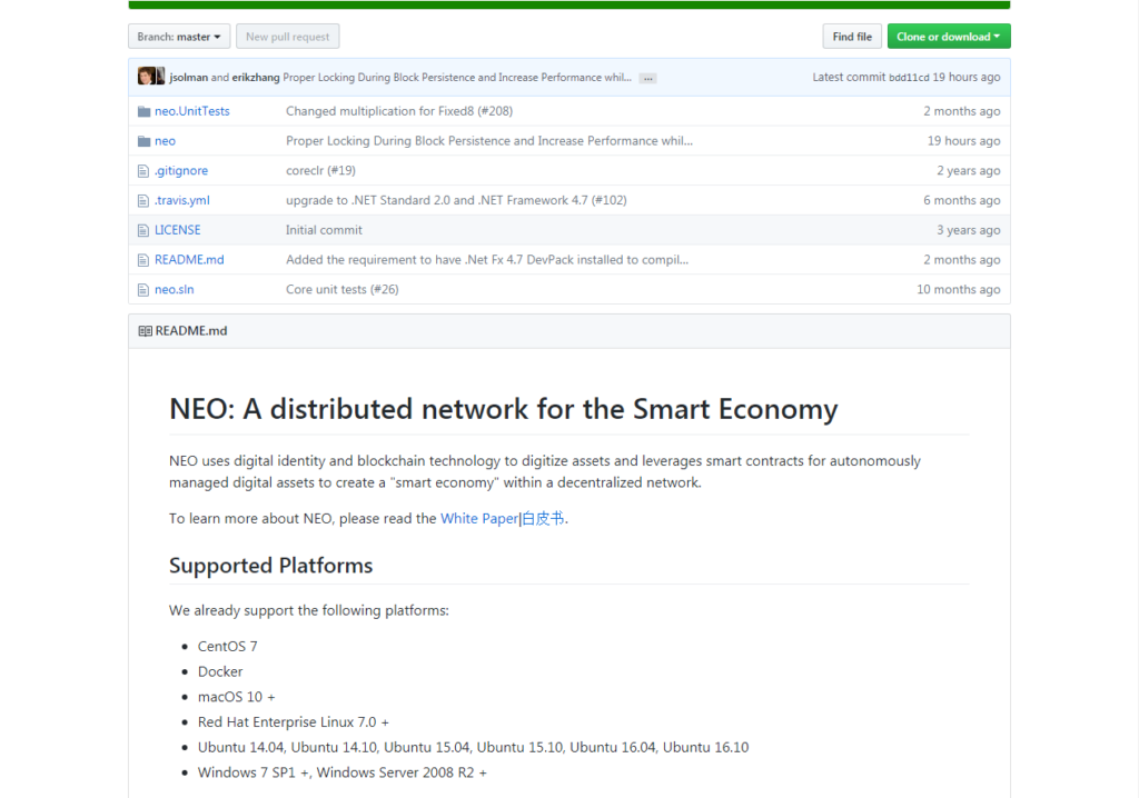NEO trading NEO project print screen