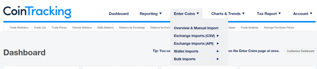Cointracking import data from exchanges