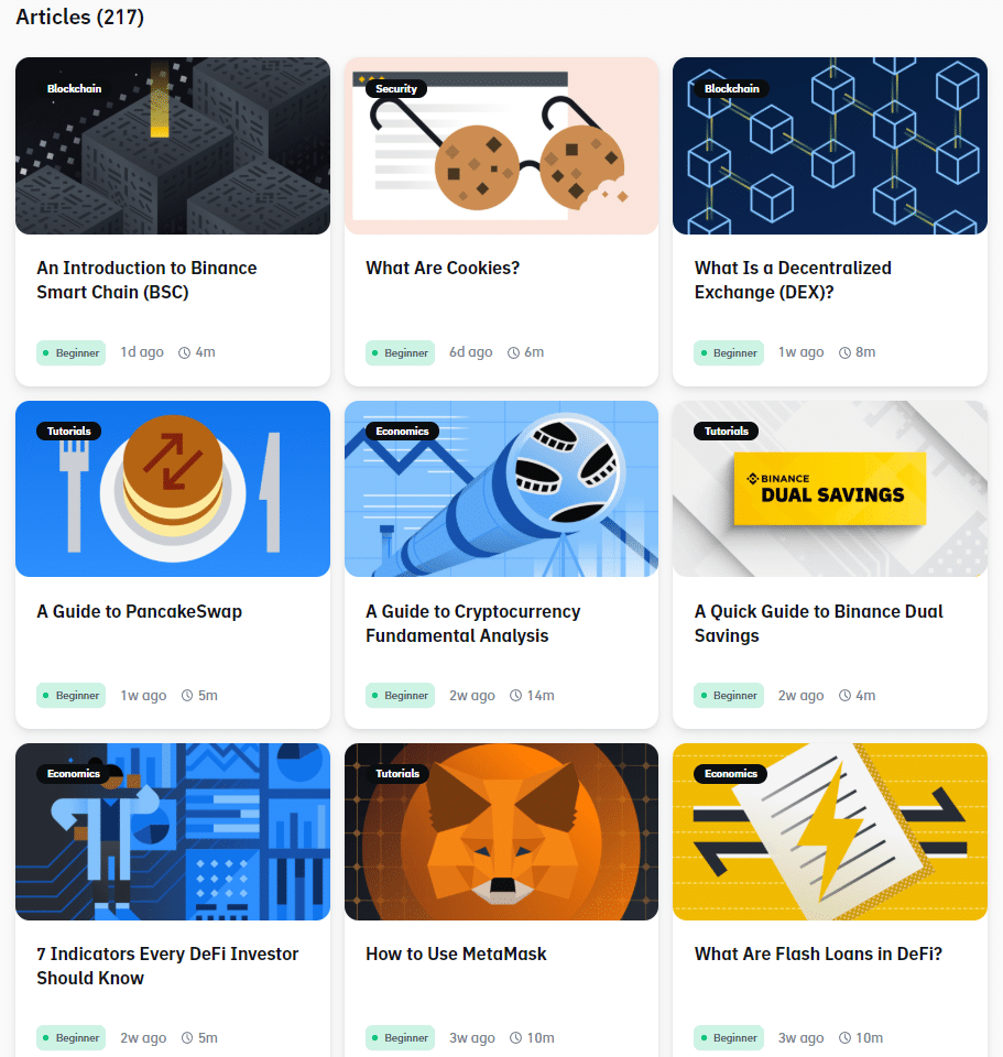 Free crypto trading courses and binance academy articles screenshot