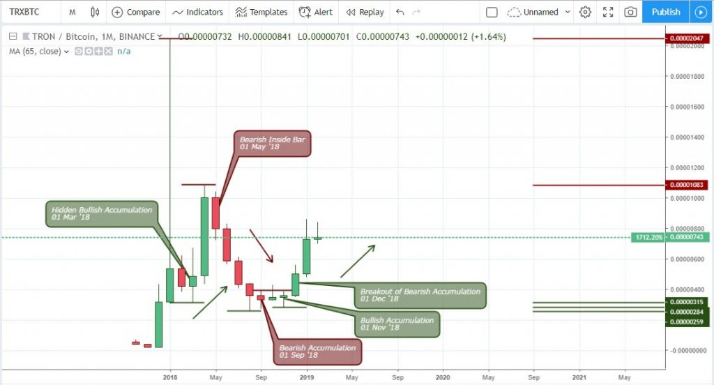 Technical Analysis Tron - Monthly Chart TRX/BTC