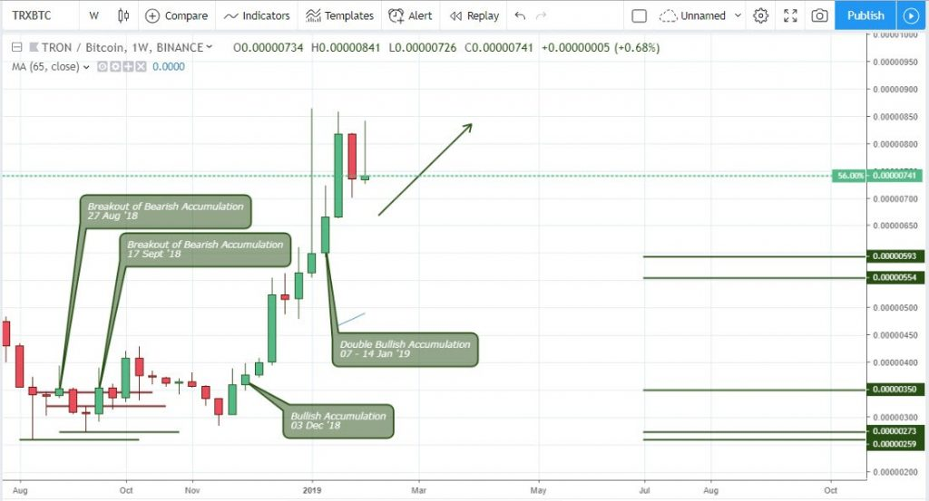 Technical Analysis Tron - Weekly Chart TRX/BTC
