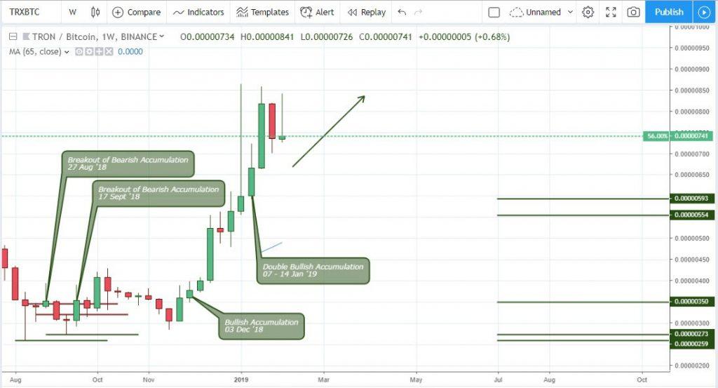 Technical Analysis Tron - Weekly Chart TRX/BTC