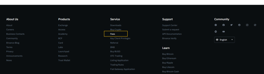 Binance fees navigation in the footer
