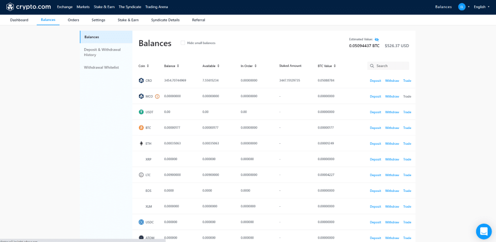 Crypto.com Exchange Review balances deposit and withdrawals