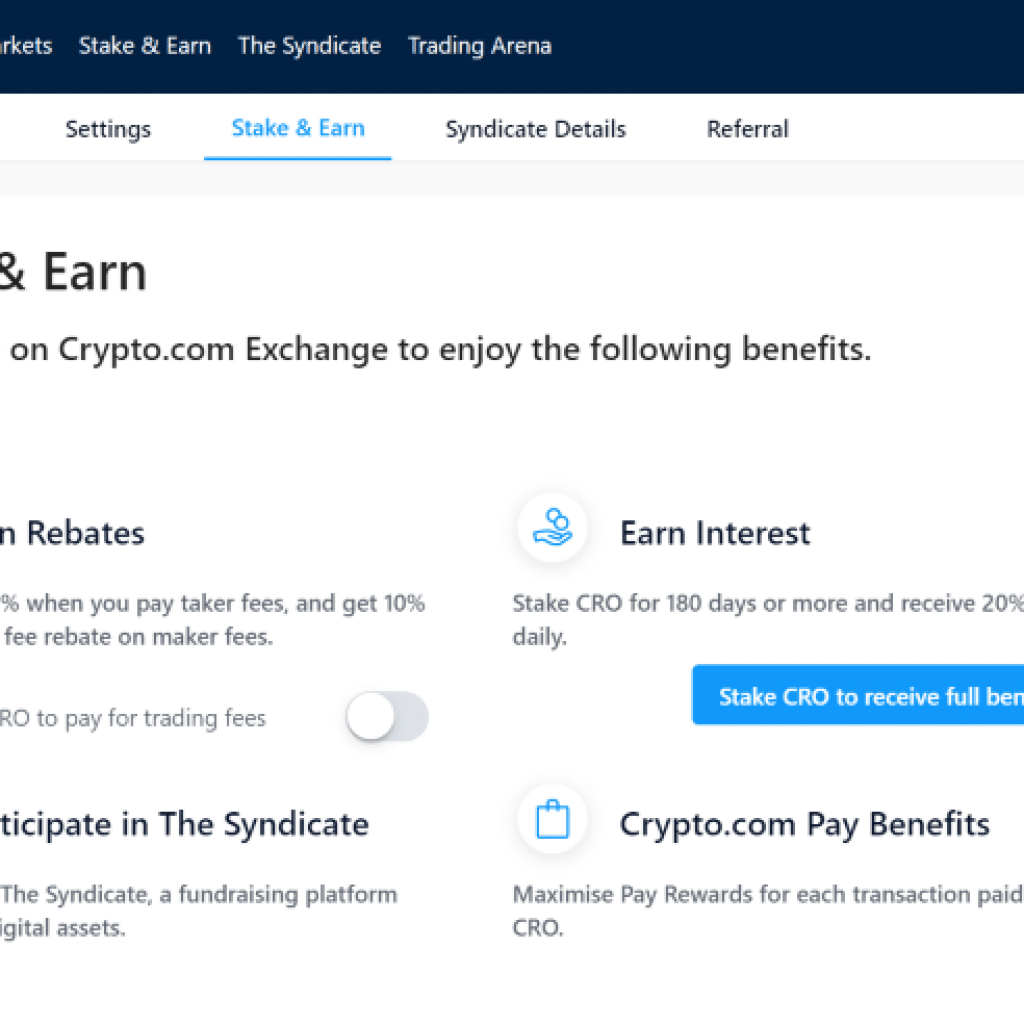 Crypto.com Exchange Review stake and earn cro staking benefits