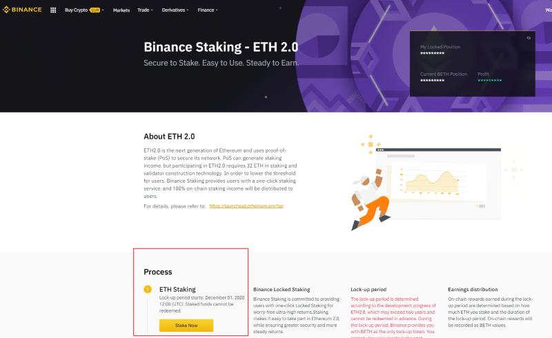 Binance staking 2.0 page screenshot