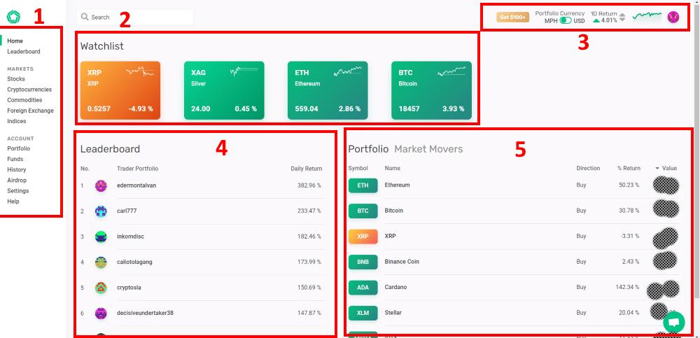 Morpher trading platform dashboard