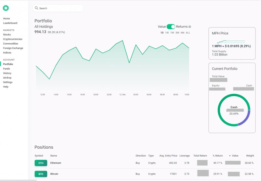 Morpher trading platform portfolio screenshot
