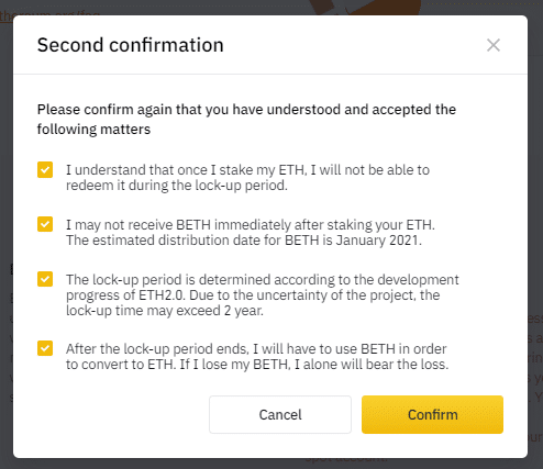 Stake ETH 2.0 at Binance second confirmation agreement screenshot