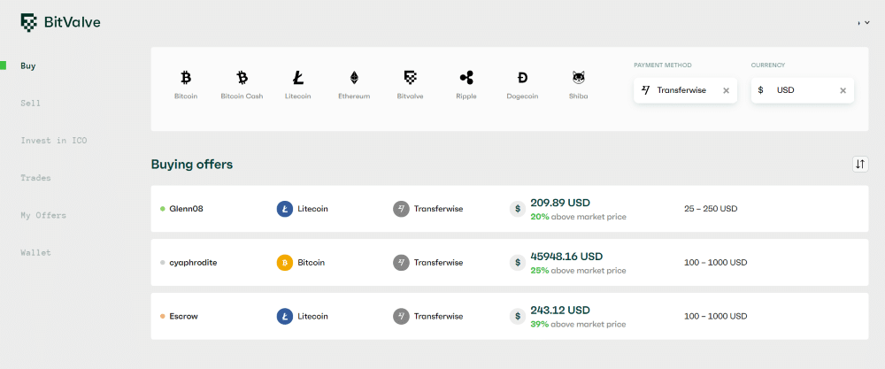 Bitvalve screenshot how to buy Litecoin with transferwise with USD