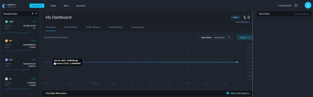 Cryptx Terminal Review 2021 dashboard screenshot