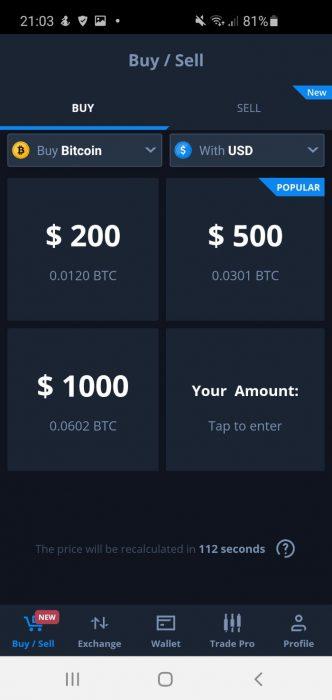 CEX IO crypto trading app home screenshot