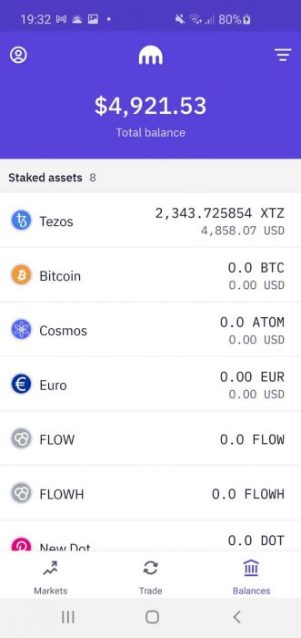 Kraken crypto trading app home screenshot