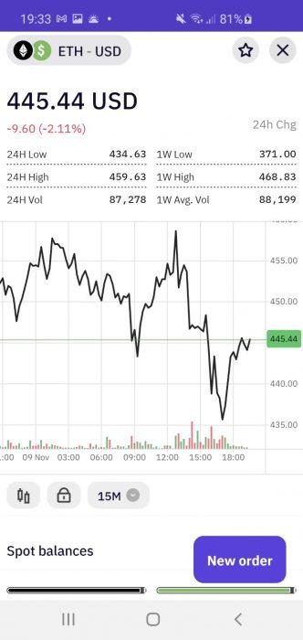 Kraken crypto trading app trading screen